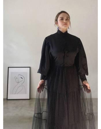 Mildred Dress in Midnight Black